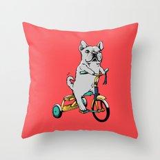 Frenchie Ride Throw Pillow