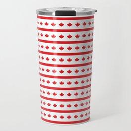 Canada Day Maple Leaf Stripe Travel Mug