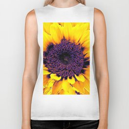 Purple Floral Center Of Butter Yellow Sunflower Biker Tank