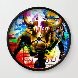 Wall Street Bull Painted Wall Clock