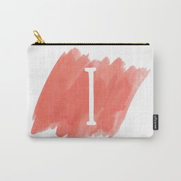 Letter I Coral Watercolor Carry-All Pouch