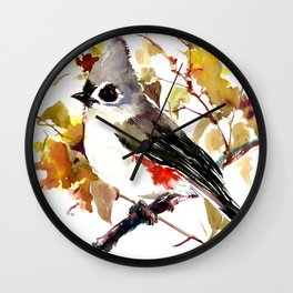 Titmouse and Fall colors foliage bird art design bird lover gift vintage style Wall Clock