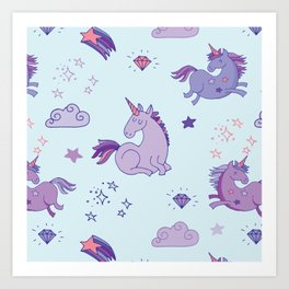 Purple Unicorns - Magical Unicorns in Purple and Blue Art Print