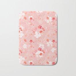 Peach pink Chinese cherry blossom Bath Mat