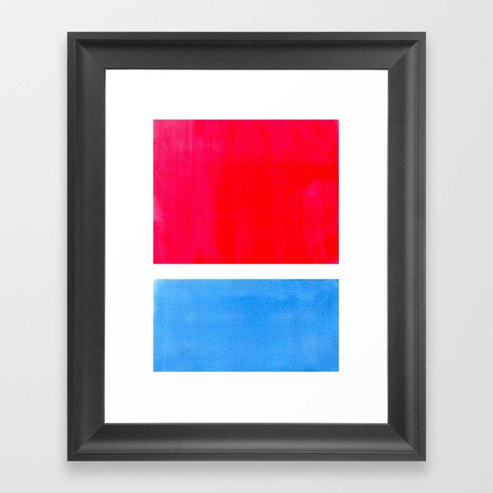 Colorful Bright Minimalist Rothko Midcentury Modern Art Vintage Pop Art Neon Red Cerulean Blue Gerahmter Kunstdruck
