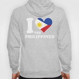 I Love the Philippines Filipino Flag Heart Hoody