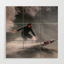 Surfer riding a wave Wood Wall Art