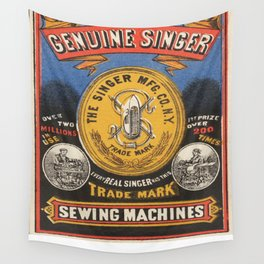 Vintage poster - Singer Sewing Machine Wall Tapestry