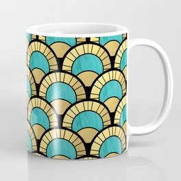 Duck Egg Green Art Deco Fan Pattern Coffee Mug