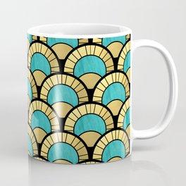 Duck Egg Green Art Deco Fan Pattern Coffee Mug