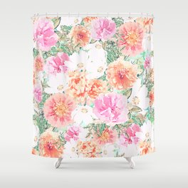 Pink Orange flowers Girly Watercolor Paint Shower Curtain