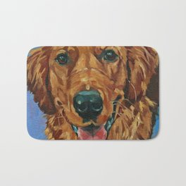 Coper the Golden Retriever Dog Portrait Bath Mat