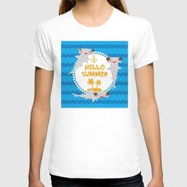 Hello Summer. Kawaii hammerhead shark T-shirt