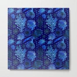 Blue Australian Native Floral Print Metal Print