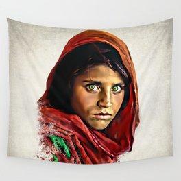 Afghan Girl - Sharbat Gula Painting Wall Tapestry