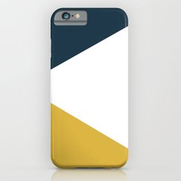 Jag: Minimalist Angled Color Block in Light Mustard, Navy Blue, and White iPhone Case