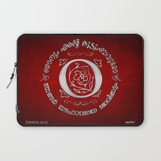 Joshua 24:15 - (Silver on Red) Monogram O Laptop Sleeve