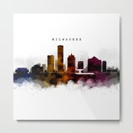 Milwaukee Watercolor Skyline Metal Print