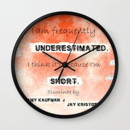 Illuminae - (Amy Kaufman and Jay Kristoff) I think it is because I'm short. Wall Clock