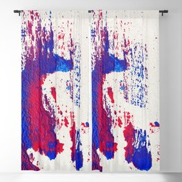 Beyond Figures. Abstract Acrylic Painting. Red & Blue Blackout Curtain