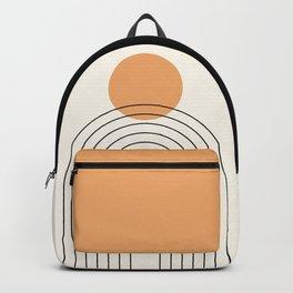 Mid Century Modern Geometric 50 in Black Beige Gold Backpack