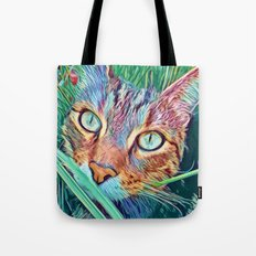 Pop Cat in the green grass Tote Bag