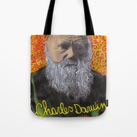 darwin Tote Bags featuring Charles Darwin by Ibbanez