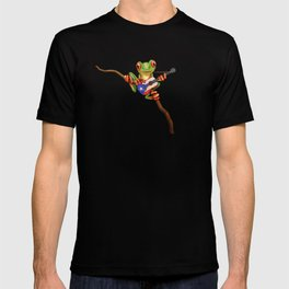 Tree Frog Playing Acoustic Guitar with Flag of Puerto Rico T-shirt