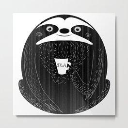 Sloth Drinking Tea Metal Print