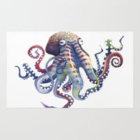 octopus Area & Throw Rugs featuring Octopus by Sam Nagel