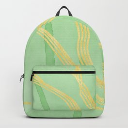 Gold Abstract lines Geometric Art Backpack