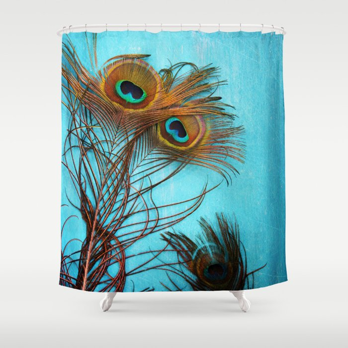 3 peacock feathers Shower Curtain