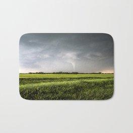 White Tornado - Twister Emerges from Rain Over Field in Kansas Bath Mat