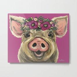Cute colorful Pig art, Pig with Flower Crown Art Metal Print