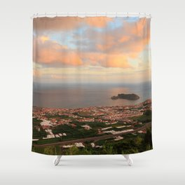 Coastal town in Azores Shower Curtain