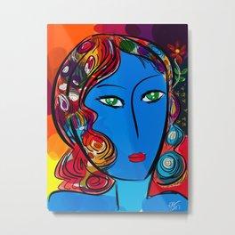 Blue Pop Girl of the morning Metal Print