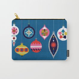 Retro Christmas Baubles on a dark background Carry-All Pouch