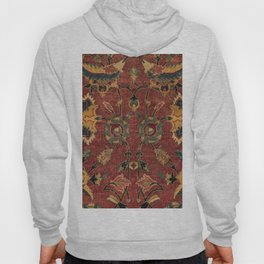 Flowery Boho Rug III // 17th Century Distressed Colorful Red Navy Blue Burlap Tan Ornate Accent Patt Hoody