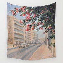 Eilat street Tel aviv_ Oil on canvas Wall Tapestry