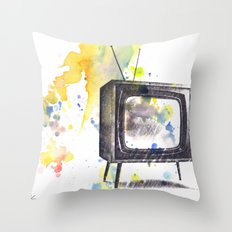 Retro Television Painting Throw Pillow
