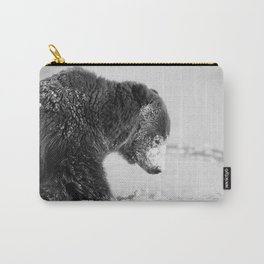 Alaskan Grizzly Bear in Snow, B & W - I Carry-All Pouch