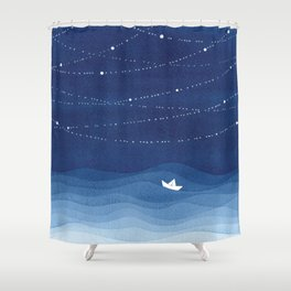 Follow the garland of stars, ocean, sailboat Shower Curtain