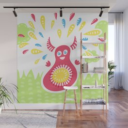 Happy Jumping Creature Wall Mural