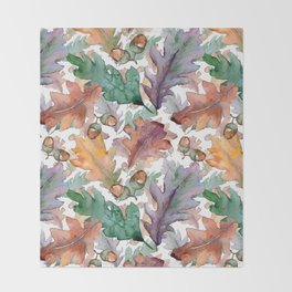 Colorful Watercolor Oak And Acorn Pattern Throw Blanket