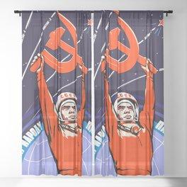 Soviet Propaganda. Yuri Gagarin Sheer Curtain