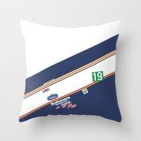 honda Throw Pillows featuring Freddie Spencer 1985 Rothmans Honda by Krakenspirit