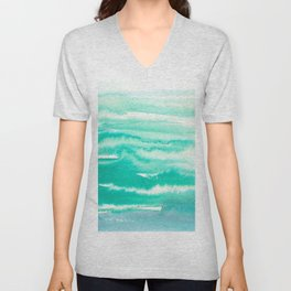 Modern hand painted teal turquoise watercolor brushstrokes Unisex V-Neck