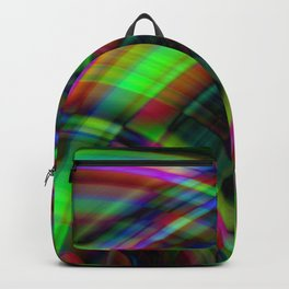 Symmetrical curved semicircles with a crisp sapphire accent and all the colors of the rainbow. Backpack