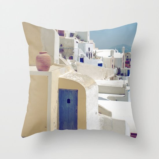 Santorini Door VIII Throw Pillow