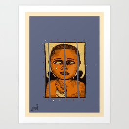 2019 Dreams Broken In Cages (NEGRO Children Camps USA) art by Marcellous Lovelace Art Print